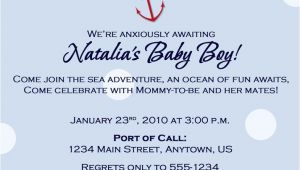 Nautical Baby Shower Invitation Wording Nautical theme Baby Shower Invitation Wording Party Xyz