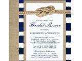 Nautical Bridal Shower Invitation Template Nautical Knot Navy Stripes Rustic Bridal Shower Card