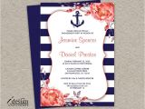 Nautical Bridal Shower Invitation Template Printable Nautical themed Engagement Party Invitation with