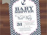 Nautical theme Baby Shower Invitations Etsy Baby Shower Invitation Girl Chevron Nautical theme
