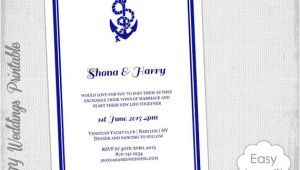 Nautical Wedding Invitation Template Printable Nautical Wedding Invitation Template Diy