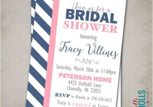 Navy and Blush Bridal Shower Invitations Custom Modern Navy Blush Bridal Shower Invitation Digital