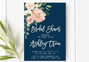 Navy and Blush Bridal Shower Invitations Navy and Blush Bridal Shower Invitation Peach Bridal Shower