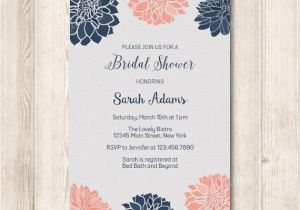 Navy and Blush Bridal Shower Invitations Navy and Blush Dahlia Floral Bridal Shower Invitation Modern