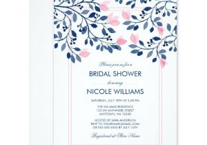 Navy and Blush Bridal Shower Invitations Navy and Blush Pink Floral Watercolor Bridal Shower