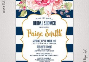 Navy and Blush Bridal Shower Invitations Navy Blue and Blush Pink Floral Invitation Bridal Shower