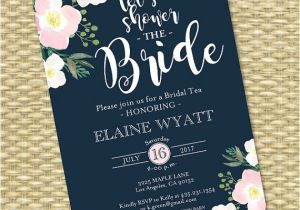 Navy and Blush Bridal Shower Invitations Navy Blush Bridal Shower Invitation Floral Bridal Shower