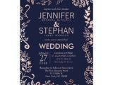 Navy Blue and Rose Gold Wedding Invitations Elegant Navy Blue Rose Gold Floral Wedding Invites