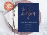 Navy Blue and Rose Gold Wedding Invitations Navy Blue and Rose Gold Wedding Invitations Rose Gold