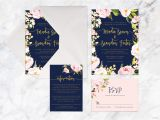 Navy Blue and Rose Gold Wedding Invitations Navy Blue Wedding Invitation Kits Printable Wedding