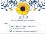 Navy Blue and Sunflower Wedding Invitations Navy Blue Sunflower Floral Wedding Rsvp Card