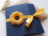 Navy Blue and Sunflower Wedding Invitations Sunflower Handmade Wedding Invitation Country Invitation