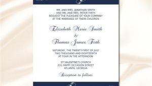 Navy Blue Wedding Invitation Template Navy Blue Wedding Invitation Template Diy Elegant Modern