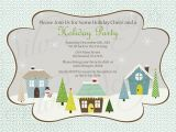 Neighborhood Holiday Party Invitation Wording Holiday Houses Landscape Custom Christmas Party Invitation
