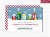 Neighborhood Holiday Party Invitation Wording Neighborhood Party Invitation Printable Christmas Open