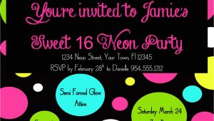 Neon Birthday Invitation Template Neon Sweet 16 Birthday Invitation Template 4×6