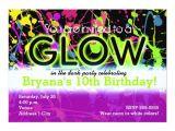 Neon Party Invitation Template Glow Neon Paint Splatter Birthday Party Invitation