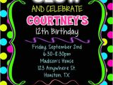 Neon Party Invitation Template Neon Glow Birthday Party Invitations Kids Birthday