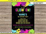 Neon Party Invitation Template Neon Glow Invitation Template Neon theme Birthday Party