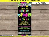 Neon Party Invitation Template Neon Glow Party Ticket Invitation Neon Glow theme Birthday