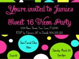 Neon Party Invitation Template Neon Sweet 16 Birthday Invitation Template 4×6