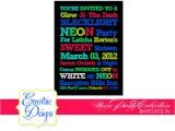 Neon Party Invites Eccentric Designs by Latisha Horton Neon Party Invitations