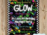 Neon Party Invites Glow In the Dark Party Invitation Neon by Heartsandcraftsy