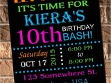 Neon Party Invites Glow Neon Birthday Party Invitation with Free Thank by