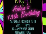 Neon Party Invites Neon 13th Birthday Invitation Glow Party Invitation Any