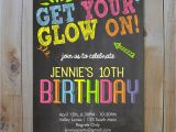 Neon Party Invites Neon Birthday Invitation Get Your Glow On Glow In the Dark