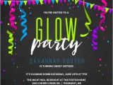 Neon Party Invites Neon Glow Party Streamers Birthday Party Invitation