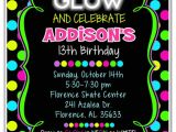 Neon themed Party Invitations Neon Glow Birthday Party Invitations Kids Birthday