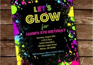 Neon themed Party Invitations Neon Glow Party theme Invitation Instantly by Sunshineparties