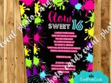 Neon themed Party Invitations Neon Glow Sweet Sixteen Invites Teen Birthday Invitations