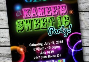 Neon themed Party Invitations Sweet 16 Glow In the Dark theme Neon Disco Birthday Party