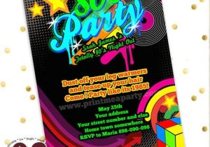 Neon themed Party Invitations totally 80 39 S Bling and Neon Birthday Party Invitation