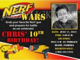 Nerf Gun Birthday Party Invitations Printable Nerf Gun Wars Inspired Birthday Photo Invitation