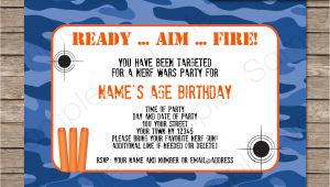 Nerf Party Invitation Template Nerf Printables Blue Camo Editable Birthday Party