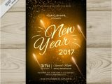 New Year Party Invitation 2017 Golden New Year Party Invitation 2017 Vector Free Download