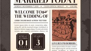 Newspaper Wedding Invitation Template Vintage Newspaper Wedding Invitation Template Vector Image