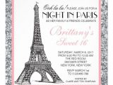 Nightclub themed Party Invitations Night In Paris Glitter Sweet 16 Custom Invitation Night