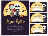 Nightmare before Christmas Baby Shower Invitations Templates Free Nightmare before Christmas Diaper Raffle Sign and Card