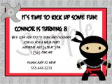 Ninja Birthday Party Invitation Template Ninja Birthday Invitations
