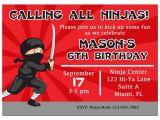 Ninja Birthday Party Invitation Template Ninja Invitation Printable or Printed with Free Shipping