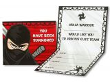 Ninja Birthday Party Invitation Template Ninja Warrior Party Invitations Ninja Warrior Postcard