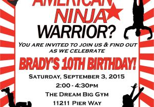 Ninja Warrior Birthday Party Invitations American Ninja Warrior Birthday Invitation