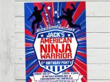 Ninja Warrior Birthday Party Invitations American Ninja Warrior Invitation Anw Birthday Invitations Boy