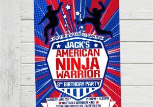 Ninja Warrior Birthday Party Invitations American Ninja Warrior Invitation Anw Birthday Invitations Boy