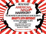 Ninja Warrior Birthday Party Invitations American Ninja Warrior Invitation Sweetdesignsbyregan
