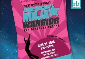 Ninja Warrior Birthday Party Invitations Girl American Ninja Warrior Invitations American Ninja